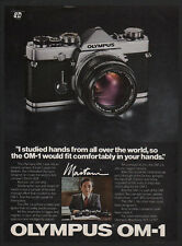 1980 OLYMPUS OM-1 Camera - Olympus Camera Designer MAITANI VINTAGE ADVERTISEMENT