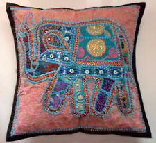 VINTAGE FABRIC HANDMADE EMBROIDERED ELEPHANT PATCHWORK CUSHION COVER TAPESTRY