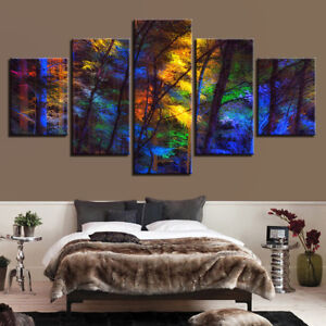 Landscape Abstract Coloured Forest Trees Canvas Print Oil Painting Wall Art 5PCS