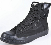 Mens Lace Up Military High Top Hiking Side Zip Shoes Tactical Ankle Boots Casual