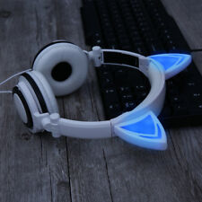Foldable Cat Kitty Ear LED Flashing Lights Rechargeable Headphones Earphone Cute