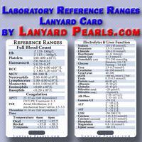 Pathology Lab Normal Reference Ranges - Lanyard Reference Badge Card