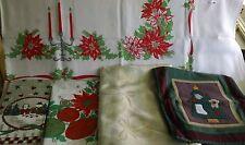 Christmas Linens-5 Tablecloths(3 Plastic 2 Cloth), 1 Table Runner, 1 Linen Towel