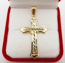 Mens 10k Yellow Gold Cross Pendant Diamond Cut Gold Crucifix Charm