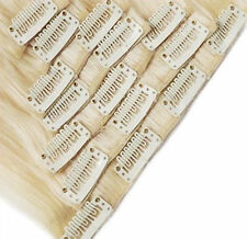 """Clip in 100% Remy Human Hair Extensions #60 Platinum Blonde 8""""-24"""" Grade 7A US"""