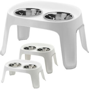 Dog Food Feeding Stand Station Stainless Double Raised Bowls Crate DogCentre®