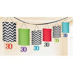 30th Birthday Hanging Paper Lantern Garland (6 Lanterns) - Adult Birthday Party