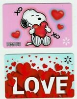 Walmart SNOOPY Gift Card  LOT of 2 - Peanuts Valentine's Day Love XO - No Value