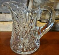 """Antique Cut Glass Pitcher American Brilliant Period ABP Crystal 8"""" Tall"""