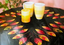 Leaves on Black Tablecloth Kit printed for embroidery 80 x 80 cm 100% Linen