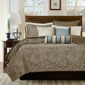 NEW! BEAUTIFUL ELEGANT CHIC BROWN TAUPE BLUE IVORY SILVER GREY LEAF QUILT SET