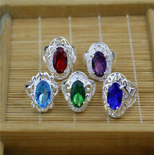 Wholesale 5PCS Mixed Lots Fashion Jewelry Crystal CZ Rhinestone Silver Ring ST3