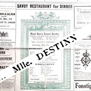 1909 Emmy Destinn Royal Opera House Covent Garden programme Sammarco Cav & Pag