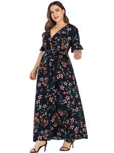 Navy Blue Floral Print Maxi Plus Size Summer Dress for Women | Sundress Holidays