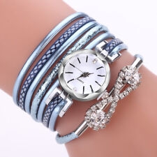 Women Girl Crystal Alloy Quartz Bracelet Wrist Watch Faux Leather Band Watches