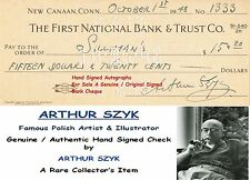 ARTHUR SZYK  GRAPHIC ARTIST DESIGNER  GENUINE HAND SIGNED BANK CHEQUE  RARE ITEM