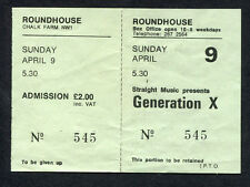Original 1978 Generation X Unused Full Concert Ticket Roundhouse UK Billy Idol