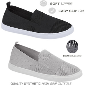 Women Ladies Fit To Go Slip On Leisure Comfort Walking Trainer Shoes Size 3-8