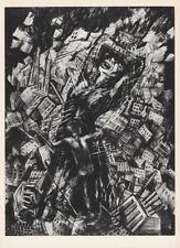 LEA GRUNDIG -  BAN ATOM BOMB * EAST GERMAN SMALL ww2 ART PRINT 1975