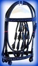 Spanish Vaqueros Bridle Headstall BLACK W/ BLUE Inlay Leather Horse Bell Tassel