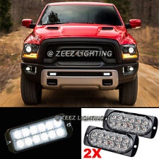2X White 12 LED Emergency Hazard Flash Caution Strobe Beacon Warning Light Ba#94
