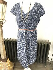 Boden Shift Dress 16 L 100% Cotton Blue White Lined Zip Butterfly Sleeve Kich