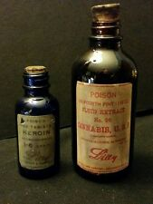 Vintage Style Eli Lilly Cannabis & Heroin Glass Medicine Bottles.By Artist