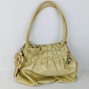 Brighton Cream Snakeskin Embossed Patent Leather Hobo Handbag XL Beautiful