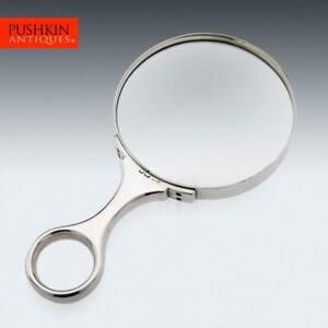 ANTIQUE 20thC EDWARDIAN SOLID SILVER MAGNIFYING GLASS, LONDON c.1904