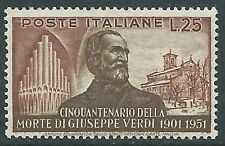 1951 ITALIA GIUSEPPE VERDI 25 LIRE MNH ** - W3-5