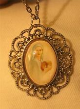 Lovely Lacy Scallop Silvertone Our Lady Treasures of God's Grace Medal Necklace
