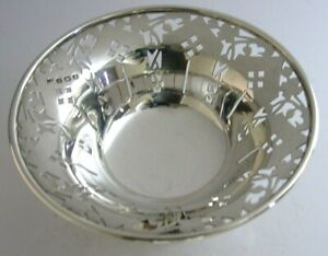 ENGLISH SOLID STERLING SILVER BOWL BONBON SWEET DISH 1923 ANTIQUE ART DECO