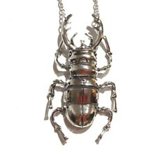 STAG BEETLE PENDANT NECKLACE joint Egyptian Revival scarab insect Egypt 5H