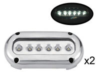 Pactrade Marine 2PCS White LED Stainless Steel Underwater Light Surface Mount