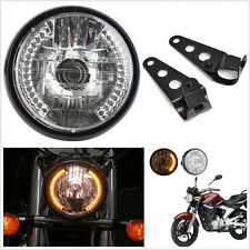 "7"" 12V LED Motorcycle ATV Headlight Turn Signal Indicator Light + Bracket Mount"