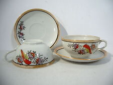 Tea Cup and Saucer Made in Japan Hand Painted Parrot Bird Lusterware 2 Sets 4pcs