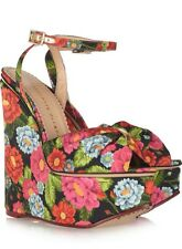 CHARLOTTE OLYMPIA MELODY CREPE DE CHINA FLORAL ANKLE STRAP PLATFORM WEDGE Sz. 6