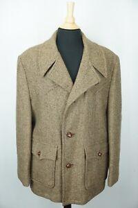 Woolrich VINTAGE Tweed Brown Heavy Wool Coat Jacket Sz 46 Made in USA
