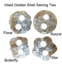 1 World Sarongs  Inlaid Golden Shell Sarong Ties in Butterfly Pareo Beach