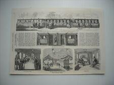 GRAVURE 1857. LES WAGONS IMPERIAUX, CHEMIN DE FER DE L'EST, AU CAMP DE CHALONS..