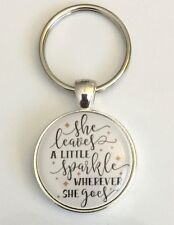 Keychain She Leaves a Little Sparkle Wherever She Goes Girl Power Glitter Shine