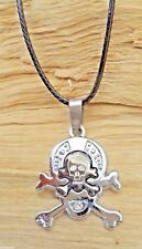 Skull & Crossbones Two Tone Silver/Pewter Effect Pendant & Black Cord Necklace
