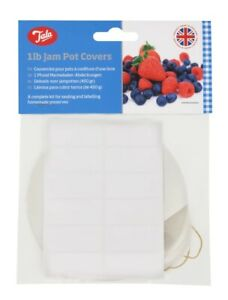 1lb Jam pot covers labels & wax circles, for 1 lb jam jars,  pack of 24 by Tala