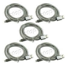 10ft Silver Lightning Charging Cable iPhone X 8 7 6 5 Plus USB Heavy Duty 5 Pc