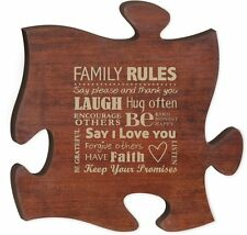 "CHERRY PUZZLE PIECE FAMILY RULES, Wooden Interlocking Wall Sign, 12"" x 12"""