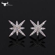 Boucles d'Oreilles Clous Puces Argenté Etoile Cristal Fin Art Deco Mariage G3 71