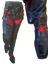 BDSM Red leather black pant Chap Black 32 pentagram short gothic jean steampunk