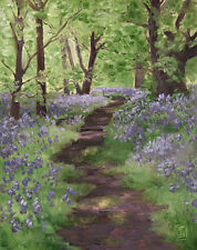 Bluebell Path in the Forest - Fine Art Print of Oil Painting - Brandy Woods