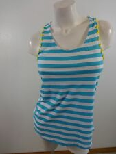 $18 NWT BONGO WOMENS AQUA BLUE & WHITE & YELLOW STRIPED TANK TOP SIZE L