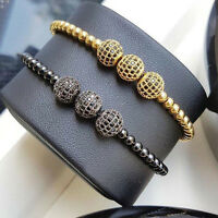 Anil Arjandas Men Gold Plated Beads & 10mm Micro Pave CZ Beads Macrame Bracelet
